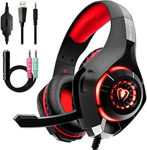 Beexcellent GM-1RED Gaming Kopfhörer für PS4 PC Xbox One, LED Light, rot 1
