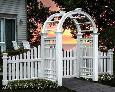 New England Westchester Arbor with Wings and Gate (Wings Fence Picket)