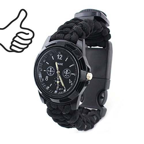 Ibreathtech Paracord Wrapped Survival Watch II, Digital Watch+ Paracord+Whistle+Compass+Thermometer+Fire Starter +Blade, 7 in 1 Paracord watch (B-Black)