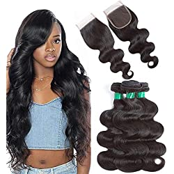 10A Brazilian Virgin Hair Body Wave with Free Part Lace Closure 100% Human Hair Weave 3 Bundles With Closure Pre Plucked Closure with Remy Hair Bundles Natural Color(12 14 16 +12closure)