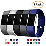 Laneco Fitbit Charge 2 Bands (5 Packs), Silicone Adjustable Sport Replacement Wristband for Bracelet Fitbit Charge 2, Multiple Color Choice (Large, Small)