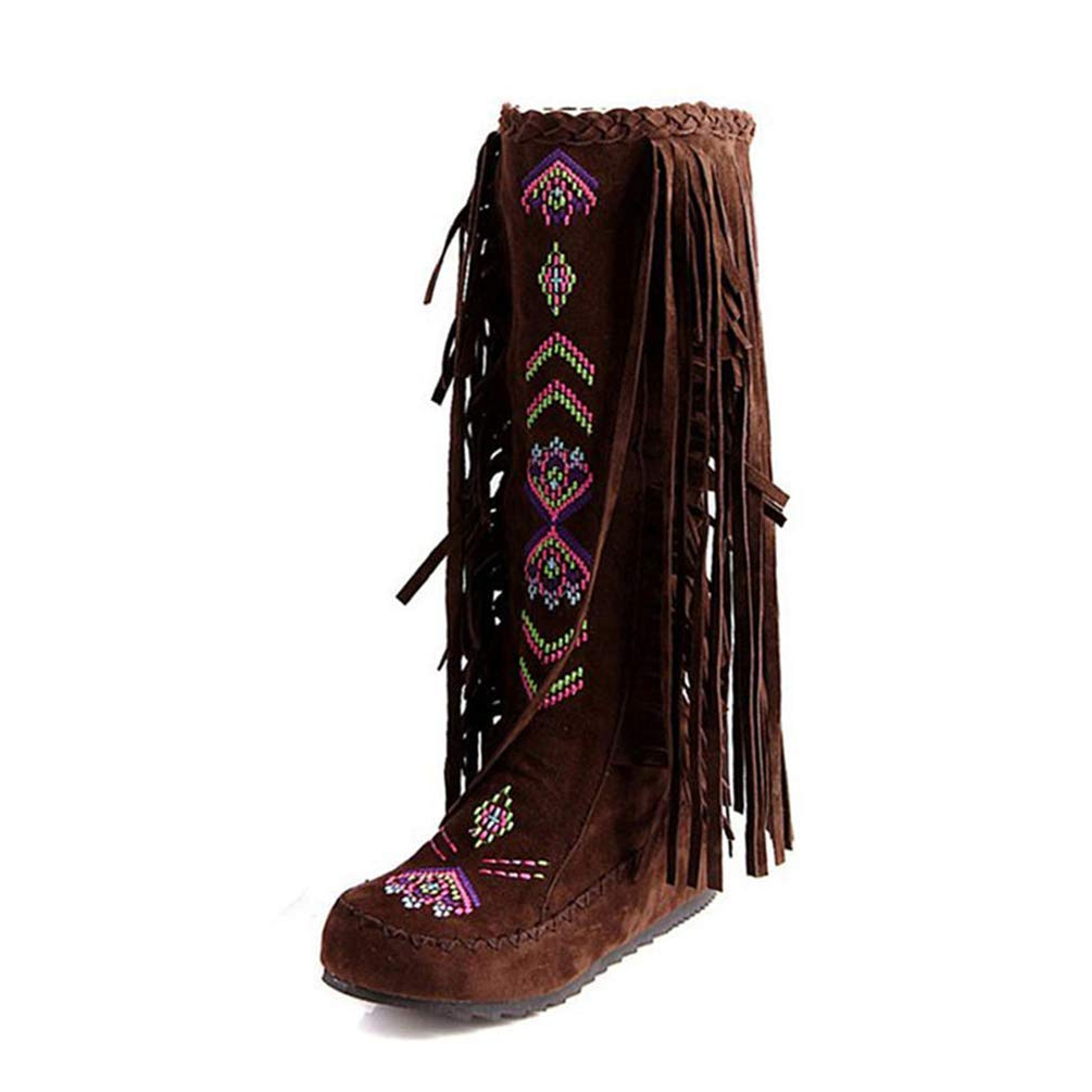 HhGold Frau Stiefel Mode Stil Flock Leder Frauen Flache Absätze Lange Schuhe Weibliche Quaste Kniehohe Stiefel (Farbe   braun Cloth Größe   6.5=40 EU)