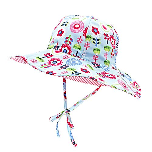 (Toddler Kids Floppy Sun Hats Reversible Children Adjustable Elastic Outdoor Beach Summer Bucket Cap with uv Protection Wide Brim)