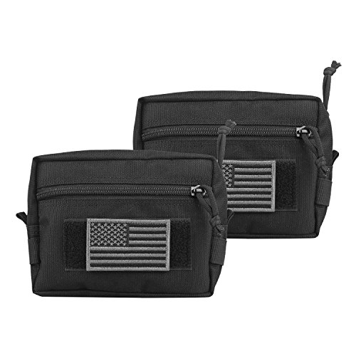 AMYIPO MOLLE Pouch 7×5×2.5 Multi-Purpose Compact Tactical Waist Bags Utility Pouch (Black Plus (2 PCS))
