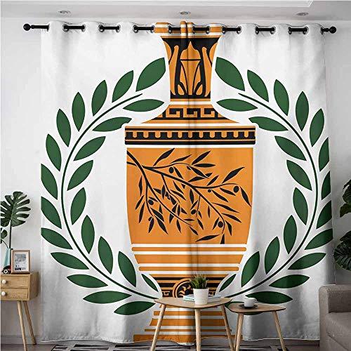 VIVIDX Curtains for Bedroom,Toga Party Old Antique Greek Vase with Olive Branch Motif and Laurel Wreath,for Bedroom Grommet Drapes,W72x96L,Hunter Green Orange Black