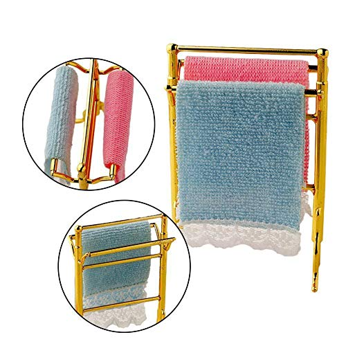 Agordo 1:12 Dollhouse Miniature 2 pc Dolls House Towels+Holder Rack Set Accessory HOT!