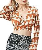 ouxiuli Women Sexy Long Sleeve Deep V Neck Ethnic Style Print Wrap Crop Top Tee Shirt 1 XS