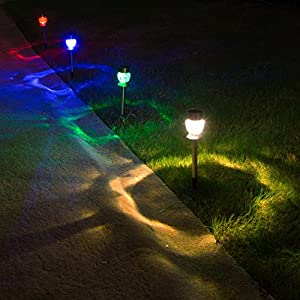Solar Lights Outdoor Pathway Decorative Garden Stake Light Upgraded 4 Color LED Brgiht Decorations Sogrand Stainless Steel Stakes for Patio Outside Landscape Walkway 4Pack