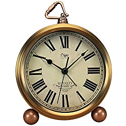 Justup Golden Table Clock, Retro Vintage Non-Ticking Table Desk Alarm Clock Battery Operated Silent Quartz Movement HD Glass for Bedroom Living Room Indoor Decoration Kids (Roman)