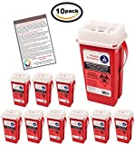 BULK Sharps Container 2 Quart - Plus Vakly Biohazard Disposal Guide (10 Pack)