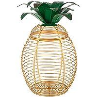 Lone Elm Studios 94350 Metal Pineapple Basket Christmas, 5InL x 5InW x 9InH, Yellow