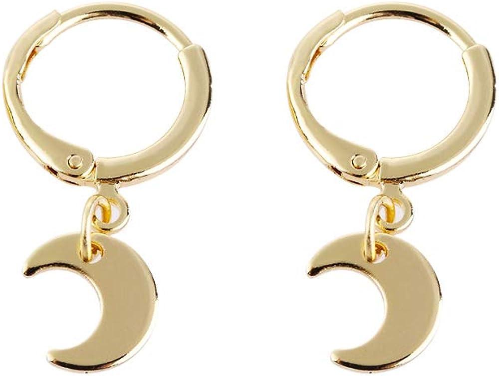 Pendientes de tuerca con forma de estrella de luna y estrella para mujeres y ni/ñas luna, dorado