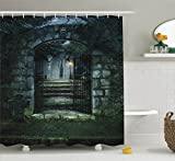 Gothic Decor Shower Curtain Set By Ambesonne, Illustration Of The Gate Of A Dark Old Haunted House Cemetary Dead Myst Fiction Art Print, Bathroom Accessories, 69W X 70L Inches, Grey Green