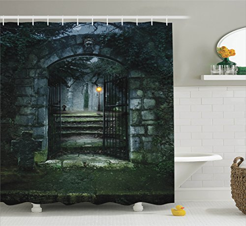 Haunted House Decor (Gothic Decor Shower Curtain Set By Ambesonne, Illustration Of The Gate Of A Dark Old Haunted House Cemetary Dead Myst Fiction Art Print, Bathroom Accessories, 69W X 70L Inches, Grey Green)