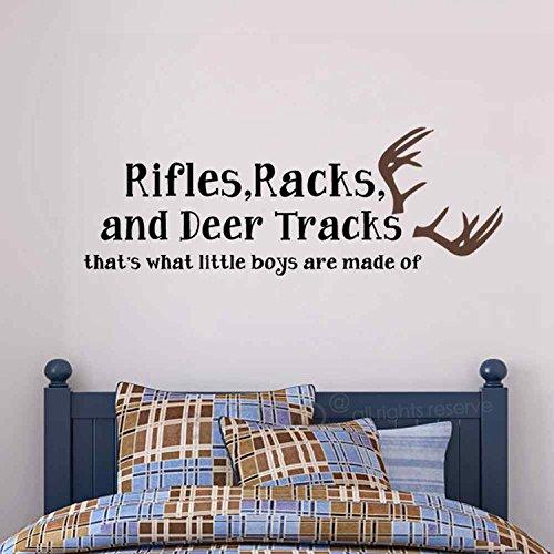 BATTOO Rifles Racks Deer Tracks That's What Little Boys Are Made Of Hunting Theme Camo Deer Room Crib Baby Boy Nursery Decor(Black+Dark Brown, 16