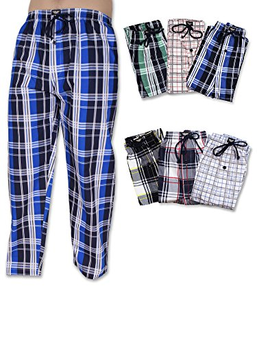American Active Men's 3 Pack Cotton Lounge Sleep Pajama Drawstring Pants (Large / 36-38, 3 Pack - Assorted Brilliant Plaids)