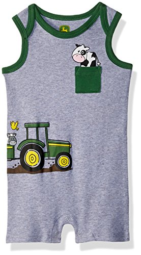 John Deere Baby Boys Romper, Heather Grey, 18/24 Month