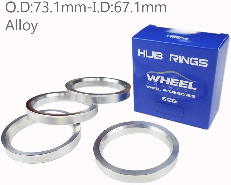 O.D:73.1-I.D:67.1mm. Aluminium Alloy Hubrings Set of 4 WHEEL CONNECT Hub Centric Rings