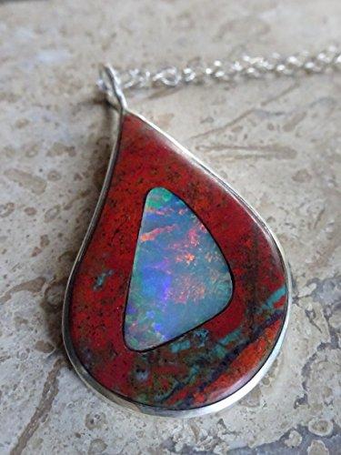 Handmade Australian Opal Necklace Inlay in Jasper. Opal (Jasper Inlay)