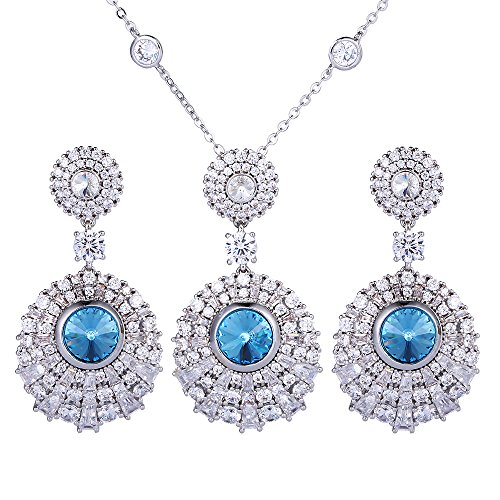 Xuping Elegance Party Pendant Earrings with Box Crystals from Swarovski Jewelry Set for Women Thanksgiving Day Gifts (Aquamarine)