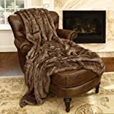 Best Home Fashion Faux Fur Throw - Full Blanket - Coyote - 58''W x 84''L - (1 Throw)