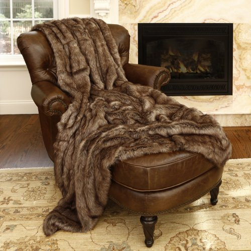 Best Home Fashion Faux Fur Throw - Full Blanket - Coyote - 58