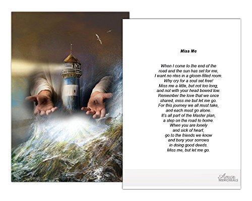 Funeral Memorial Prayer Cards (50 Cards) FPC1150EN God's Lighthouse (Select Desired Prayer)