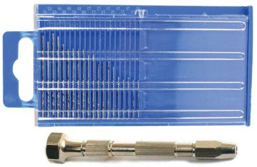 21pc Micro-Drill Diamond Coated Bit Set Index 61-80 w/ Swivel Head Pin Vise