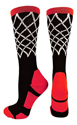 Basketball Net Crew Socks (Black/Red, Small) (Nets Youth)