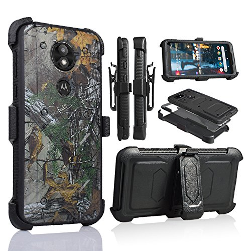 For Motorola MOTO E5 PLUS, MOTO E5+, XT1924, E PLUS 5th Gen, E5+ SUPRA 6.0 Full Body Armor Rugged Holster Defender Hybrid Case with 360 Swivel Belt Clip & Built in Screen Protector (CAMO)