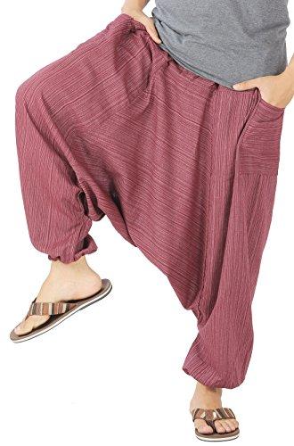 CandyHusky Mens Stripe Cotton Summer Baggy Boho Aladdin Hippie Yoga Harem Pants (Red) (Yoga Harem Red Pants)