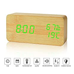 Desk Clock---FiBiSonic Wood Clock Yellow&Green Digital Clock Alarm Clock for Kids Voice/Touch Control Desk Silent Modern Style Snooze Alarm Clock with Thermometer and Hygrometer