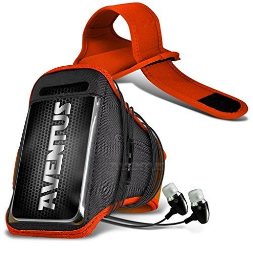 Aventus Nokia Lumia 735 (Orange) Voll einstellbare Leicht Hulle Armband für Rennen, Gehen, Radfahren, Fitnessraum und andere Sportarten wie In-Ear-Ohrhörer Aluminium Orange