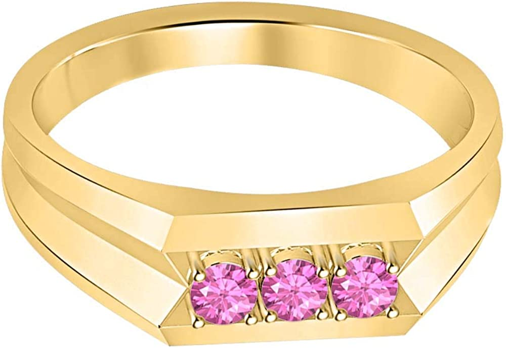 RUDRAFASHION 14k Yellow Gold Plated Round Cut Pink Sapphire 925 Sterling Silver Mens Anniversary Band Ring