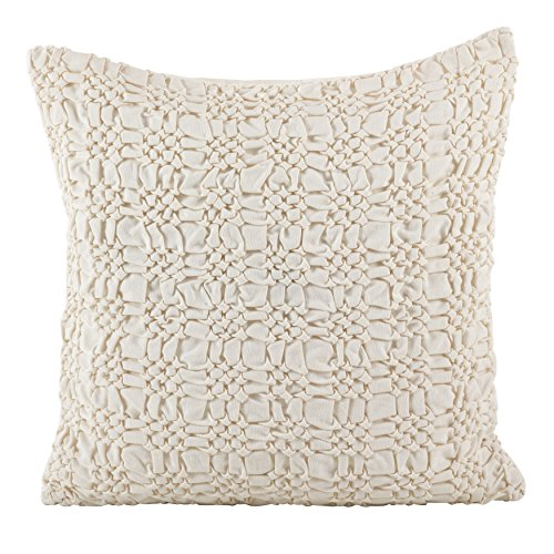 SARO LIFESTYLE Smocked Design Cotton Down Down Filled Throw Pillow/0002.I20S, 20