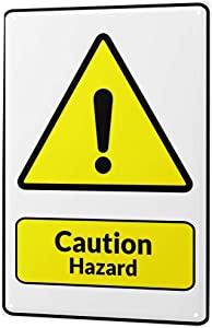 Tin Sign Warning Sign Caution Hazard exclamation point symbol in black and yellow triangle comic cartoon satire 20x30 cm metal shield Shield Wall Art Deco decoration retro Advertising