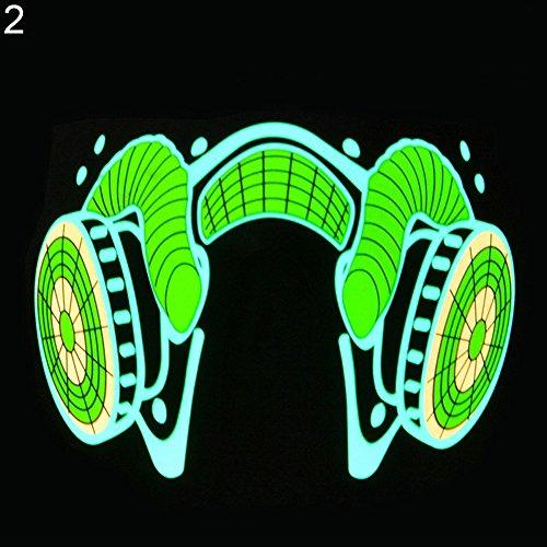 ChoppyWave LED Luminous Voice Control Lighting Halloween Cosplay Party Flashing Face Mask 2# ()