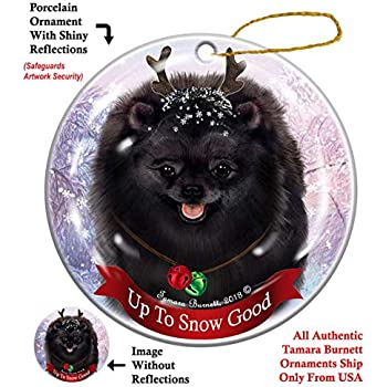 Holiday Seasons Puppy Dog Cute Schipperke Round Porcelain Ornament