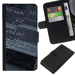 Sony Xperia Z2 D6502 D6503 D6543 L50t L50u , la tarjeta de Crédito Slots PU Funda de cuero Monedero caso cubierta de piel ( Maths Black Board Calculation Formula Art)