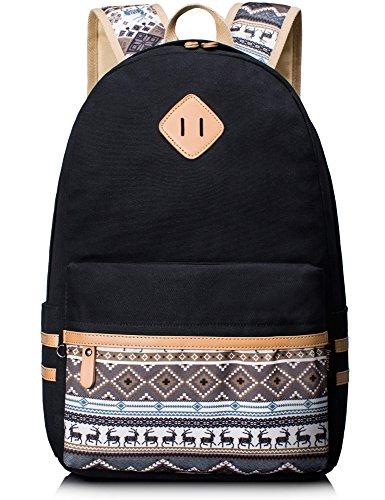 Leaper Casual Style Lightweight Canvas Backpack School Bags Travel Bag Laptop Bag with Super Cute Little Deer Design (Large, Black+Deer)