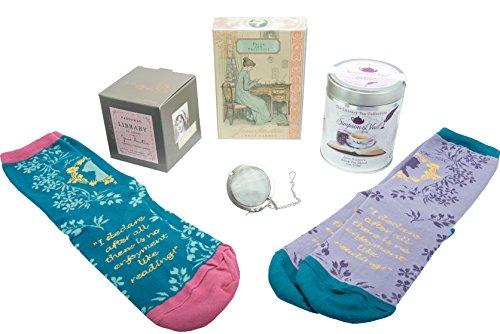 Jane Austen Gifts Set - Jane Austen Candle, Jane Austen Socks, Jane Austen Tea with Small Tea Infuser Ball, and Jane Austen Notecards