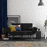 REALROOMS Euro Loveseat Futon, Reclining Sofa and