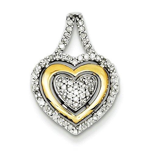En argent Sterling 925 et pendentif en forme de cœur 14 carats à JewelryWeb