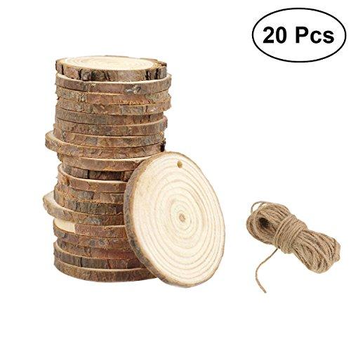 ULTNICE Round Wood Discs Log Slices Wood Pieces DIY Craft Wedding 9-10CM with Jute Twine Pack of 20 ()