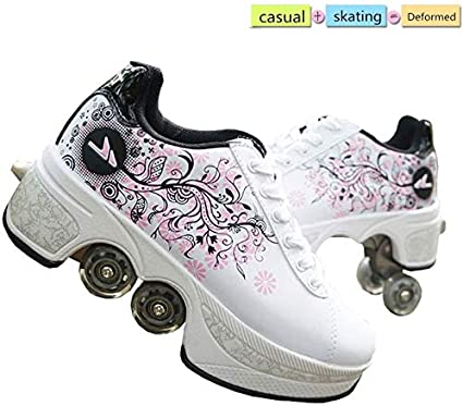 Amazon Com Lrz Deformation Roller Shoes Male And Female Skating Shoes Adult Children S Automatic Walking Shoes Invisible Pulley Shoes Skates With Double Row Deform Wheel 39 Sports Outdoors