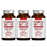 Premium Extra Strength Vitamin K2 (MK7) Plus D3 Supplement - Supports Healthy Bones & Cardiovascular Health - Small and Easy to Swallow Caps of 180 mcg MenaQ7 & 5000 IU D3 - 3 Pack 180 Day Supply