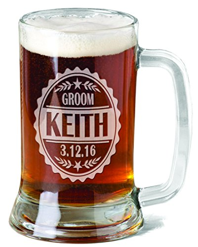 Groom Party Stein (One 16 Oz Wedding Party Beer Stein Laser Engraved Beer Mug for Groomsman Groom Best Man Groomsmen Bachelor Party Wedding Celebration with Name and Date)