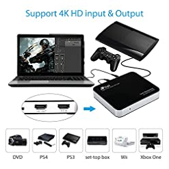 Live Streaming Box Mini USB 3 0 4K HD Game Capture Card 1080P 60FPS Video  Recorder Device for PS4, Xbox, Switch,Wii Gameplayer Compatible with  Windows