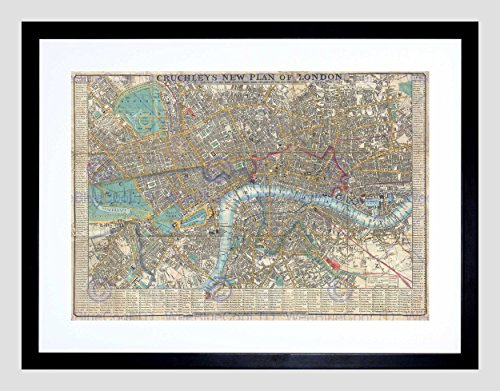 MAP ILLUSTRATED ANTIQUE CRUTCHLEY LONDON FRAMED ART PRINT B12X4928