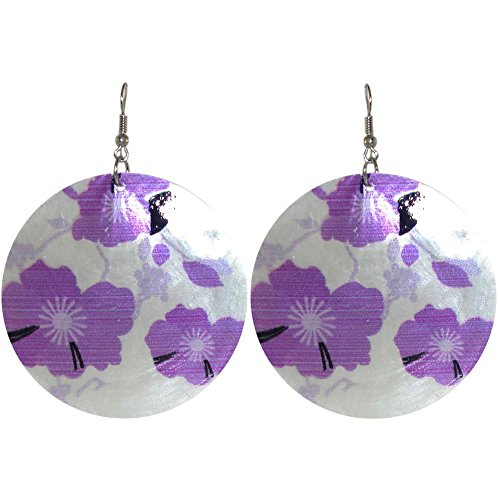 Printed Capiz Shell (Floral Printed Capiz Shell Earrings, in Purple with Silver Tone Finish)